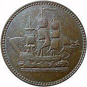 ½ Penny (Wellington Waterloo - ship design) – obverse