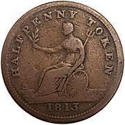 ½ Penny Token (Field Marshal Wellington - Britannia) – reverse