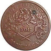 1 Sou (Banque du Peuple - Sou of the Rebellion) – reverse