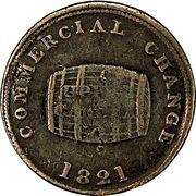 ½ Penny (Sloop Token - Commercial Change, Cask) – reverse