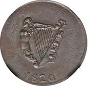 ½ Penny - (Imitation Bust and Harp) – reverse