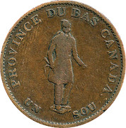 """½ Penny / 1 Sou (""""BANK OF MONTREAL"""") – obverse"""