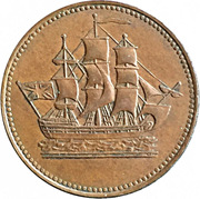 ½ Penny (Ships, Colonies & Commerce - Cut knob ampersand) – obverse