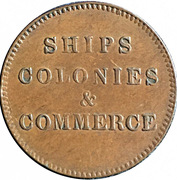 ½ Penny (Ships, Colonies & Commerce - Cut knob ampersand) – reverse
