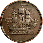 ½ Penny (ships colonies & commerce - club knob ampersand) – obverse