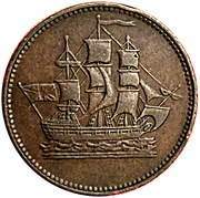 ½ Penny (Ships, colonies & commerce - round knob ampersand) – obverse