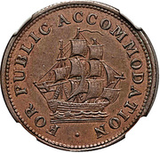 ½ Penny Token (For Public Accommodation) – obverse