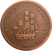 ½ Penny (success to navigation & trade) – reverse
