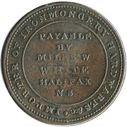 ½ Penny (Payable by Miles W. White) – reverse
