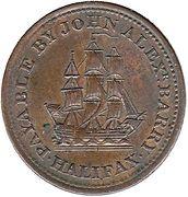 ½ Penny - John Alexr. Barry (Halifax) – reverse