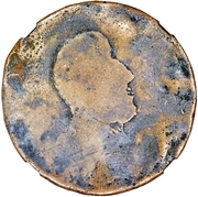 ½ Penny (Regal Imitation - George III right, uniface) – obverse