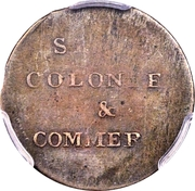 ½ Penny (Imitation - Ships, Colonies and Commerce - Harp Design) – reverse