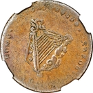 ½ Penny (Imitation Bust and Harp) – reverse
