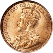 "1 Cent - George V (with ""DEI GRA"") – obverse"