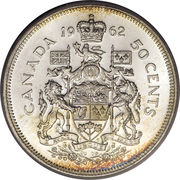 50 Cents - Elizabeth II (complete coat of arms) -  reverse