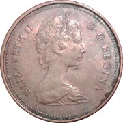 1 Cent - Elizabeth II (2nd portrait; light type) – obverse