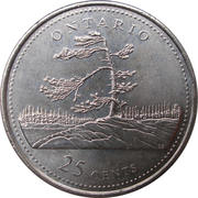 25 Cents - Elizabeth II (Ontario) -  reverse