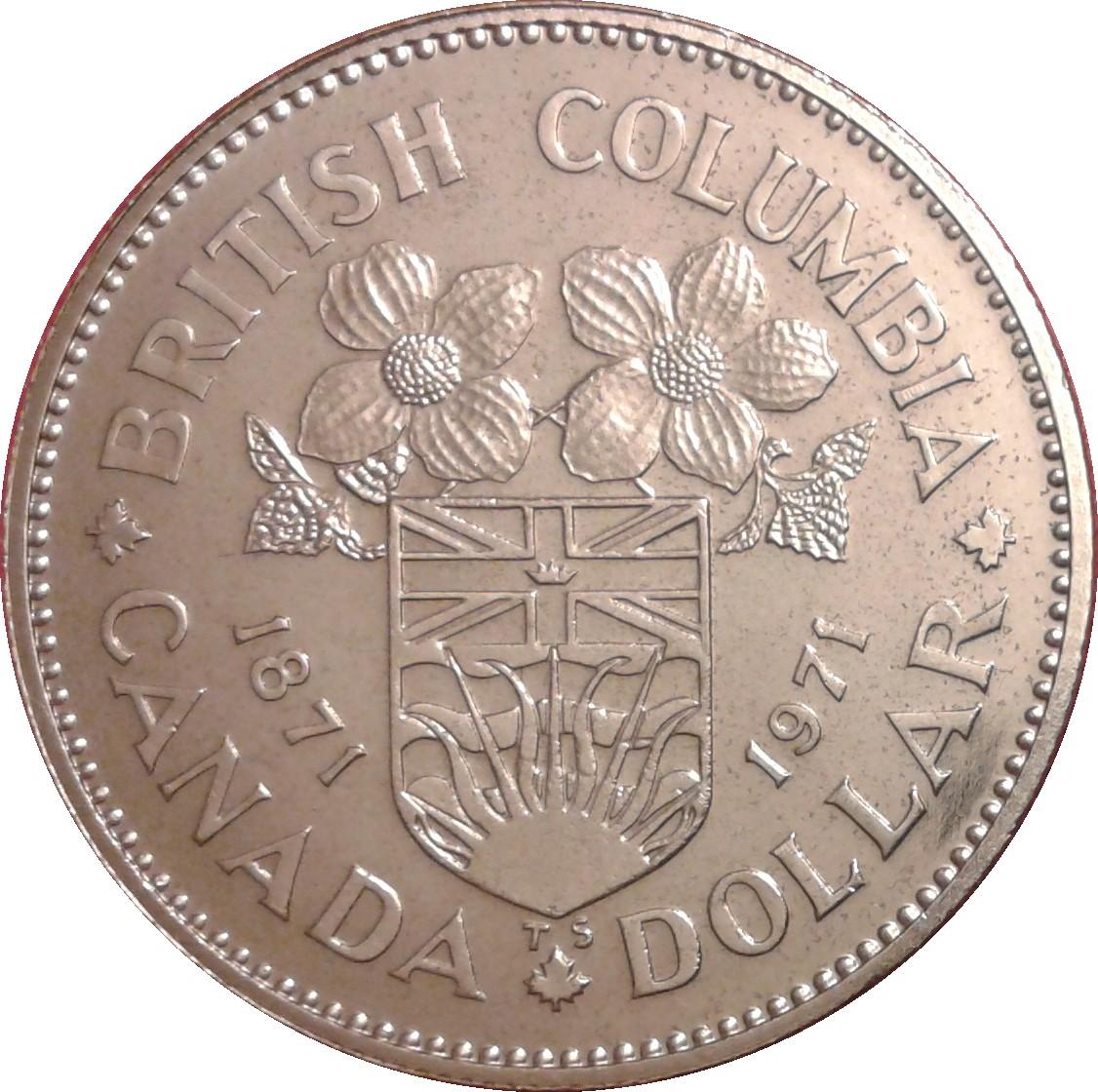 Canada Commemorative Silver Dollar 1971 British Columbia Centennial   #180248