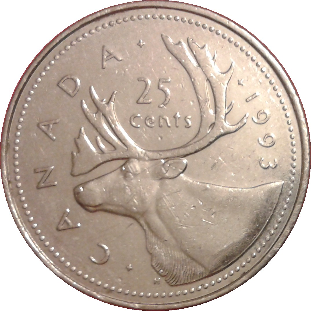 1990 CANADA 25 CENTS PROOF-LIKE QUARTER COIN