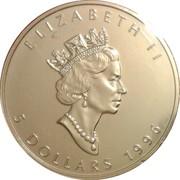 5 Dollars - Elizabeth II (3rd Portrait; 1 oz. Silver Bullion Coinage) -  obverse