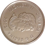 25 Cents - Elizabeth II (War of 1812, Tecumseh; colourized) -  obverse
