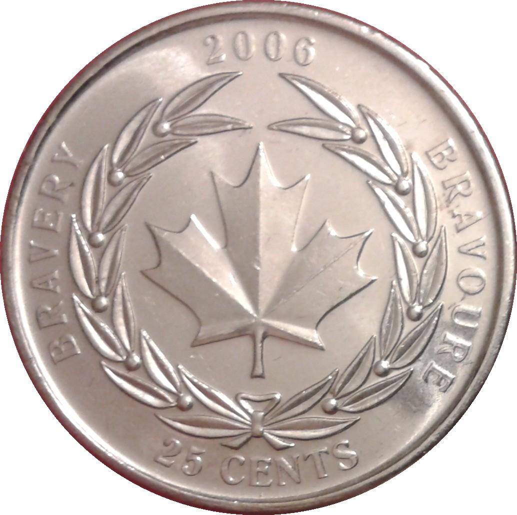 2006 CANADA Royal Canadian Mint Bravery Bravoure Quarter 25 Cent 25c