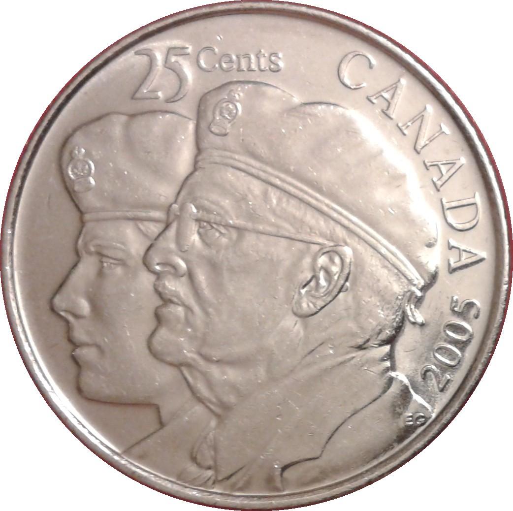 25 Cents Elizabeth Ii Year Of The Veteran Canada Numista
