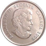 25 Cents - Elizabeth II (Men's Ice Hockey; colourized) -  obverse