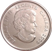 25 Cents - Elizabeth II (Women's Ice Hockey; colourized) -  obverse
