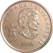 25 Cents - Elizabeth II (Freestyle skiing) -  obverse