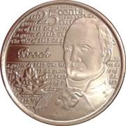25 Cents - Elizabeth II (War of 1812, Sir Isaac Brock) -  reverse