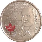 25 Cents - Elizabeth II (War of 1812, Sir Isaac Brock; colourized) -  reverse