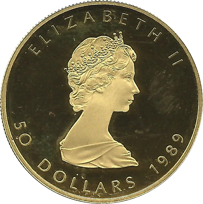 50 Dollars Elizabeth Ii 2nd Portrait 1 Oz Gold Bullion Coinage