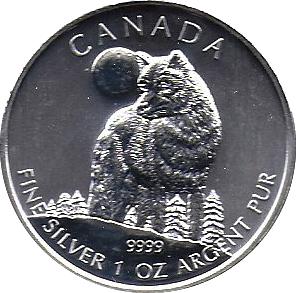 2011 Canada Wildlife $5 Timber Wolf 1 oz .9999 Fine Silver