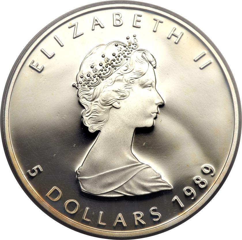 5 Dollars Elizabeth Ii 2nd Portrait 1 Oz Silver