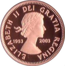 2003 CANADA 1953-2003 SPECIAL EDITION CORONATION 1 CENT PROOF PENNY COIN