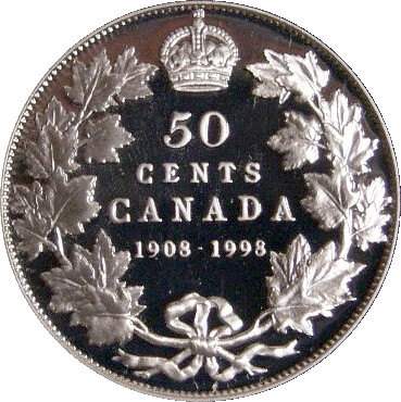 Antique Finish 1908-1998 Canada Fifty Cent Sterling Silver