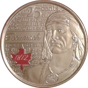 25 Cents - Elizabeth II (War of 1812, Tecumseh; colourized) -  reverse