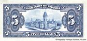5 Dollars (Dominion of Canada) – reverse