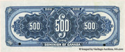 500 Dollars (Dominion of Canada) -  reverse
