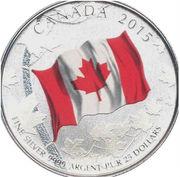25 Dollars - Elizabeth II (Canadian Flag Anniversary) – reverse