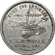 Token - T.E. Bissell (Elora, Ontario) – reverse