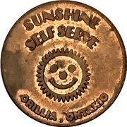 Carwash Token - Sunshine Self Serve (Orillia, Ontario) – obverse