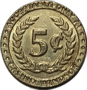 5 Cent Gaming Token - Casino Windsor (Windsor, Ontario) – reverse