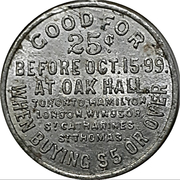 25 Cents - Oak Hall – reverse