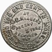 1 Cent - J.E. Klager's Grocery (Hespeler, Ontario) – obverse