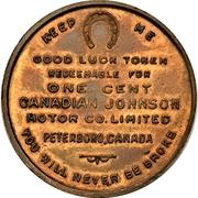 1 Cent - Johnson Motor Co. (Peterborough, Ontario) – reverse