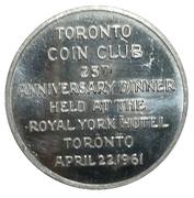 Medal - Toronto Coin Club 25th Anniversary – obverse