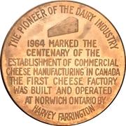 Medal - Canadian Cheese Centennial (Norwich, Ontario) – reverse