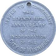 Token - Winnipeg 75th Anniversary Jubilee – reverse